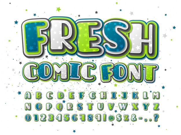 Colorful green and blue comics font with star pattern