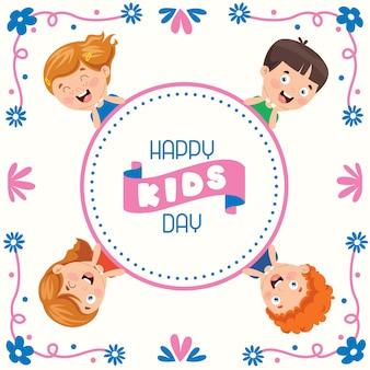 幸せな子供の日のためのカラフルなグリーティングカード