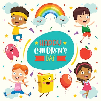 Colorful greeting card for happy children's day