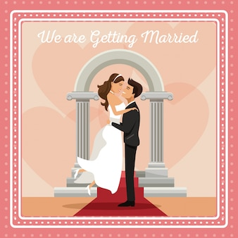 私たちは結婚しているカラフルな挨拶状