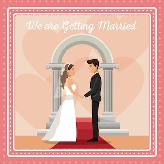 カップルの新郎と花嫁の手を持つカラフルな挨拶状