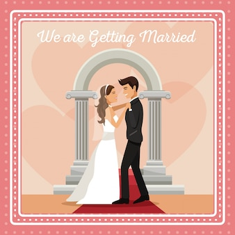 Colorful gretting card with couple groom and bride dancing