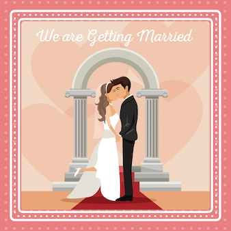 Colorful gretting card with couple groom and bride kissing