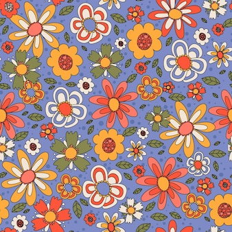 Colorful groovy floral pattern hand drawn