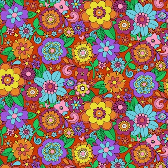 Colorful groovy floral pattern
