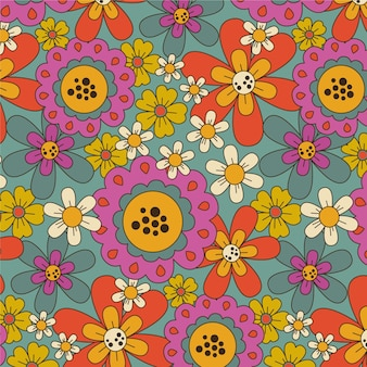 화려한 그루비 플로랄 패턴