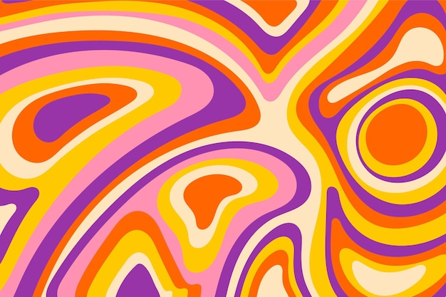 Colorful groovy psychedelic hand drawnbackground
