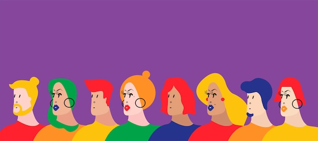 人々のベクトルのイラストのカラフルなグループ