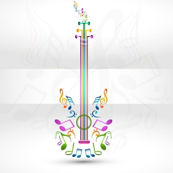 Colorful guitar with music element