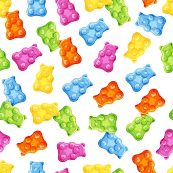 Colorful gummy and jelly bears seamless pattern fruity and tasty sweets and candies