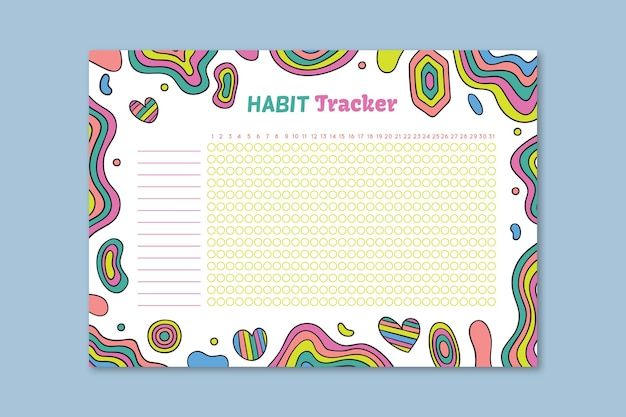 Colorful habit tracker template with different doodles