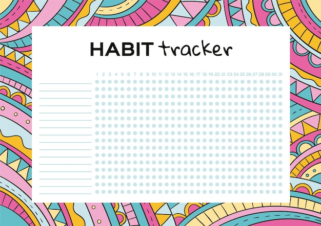 Colorful habit tracker template