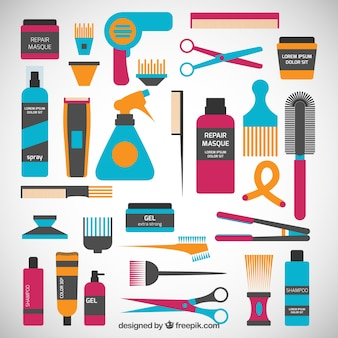 Colorful hairdressing icons