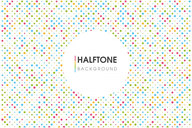 Colorful halftone circle background with a circular text box.