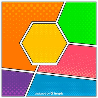 Colorful halftone comic background