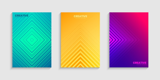 Colorful halftone gradients, minimal cover design template set with gradient background