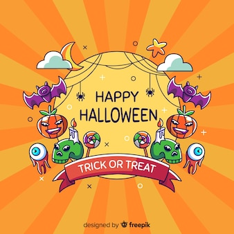 Colorful halloween background in flat design