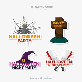 Colorful halloween badge collection with flat design
