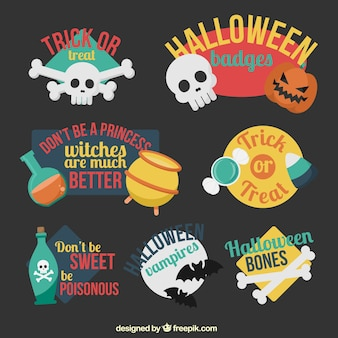 Colorful halloween badges