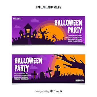 Colorful halloween banners with flat design