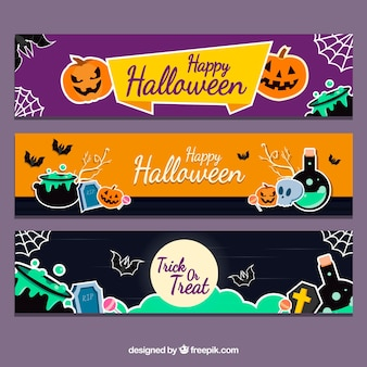 Colorful halloween banners with modern style