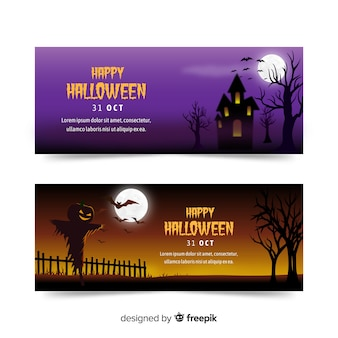 Colorful halloween banners with realistic design