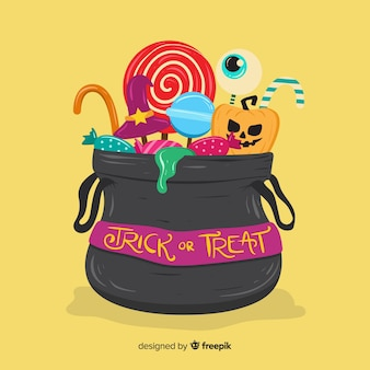 Colorful halloween candy bag background