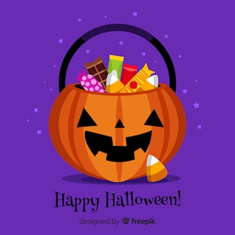 Colorful halloween candy bag with flat design