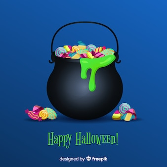 Colorful halloween candy bag with realistic design