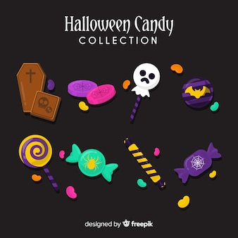 Colorful halloween  candy collection in flat design