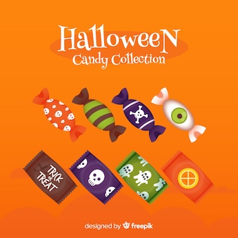 Colorful halloween candy collection with flat design