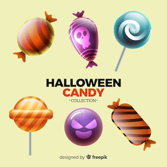 Colorful halloween candy collection with realistic design