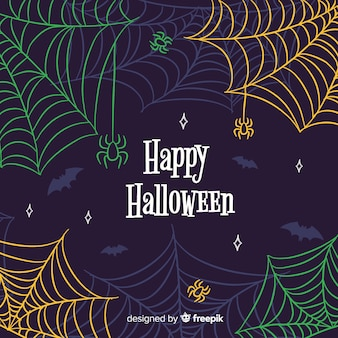 Colorful halloween cobweb background
