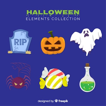 Colorful halloween element collection with flat design