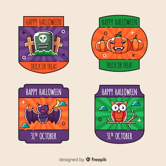 Colorful halloween labels collection in hand drawn style