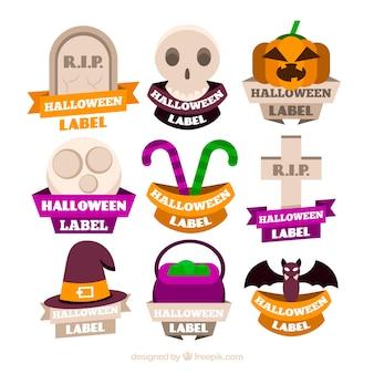 Красочные этикетки хэллоуина с плоским дизайном