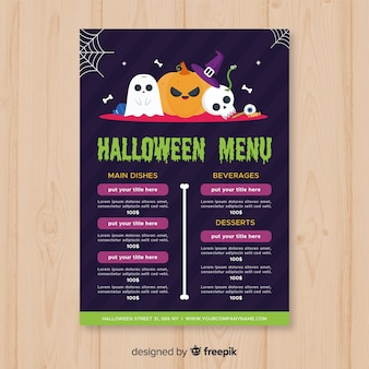 Colorful halloween menu template with flat design