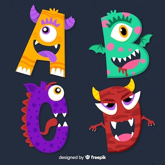 Colorful halloween monster alphabet