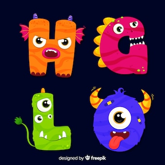 Colorful halloween monster alphabet