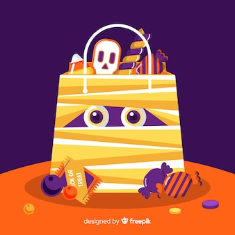 Colorful halloween mummy candy bag background in flat design