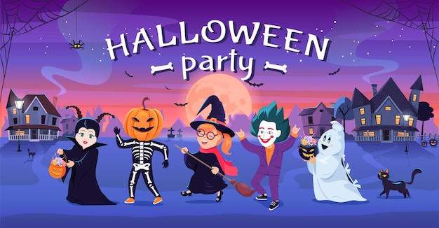 Colorful halloween party for kids in costumes cartoon vector illustration