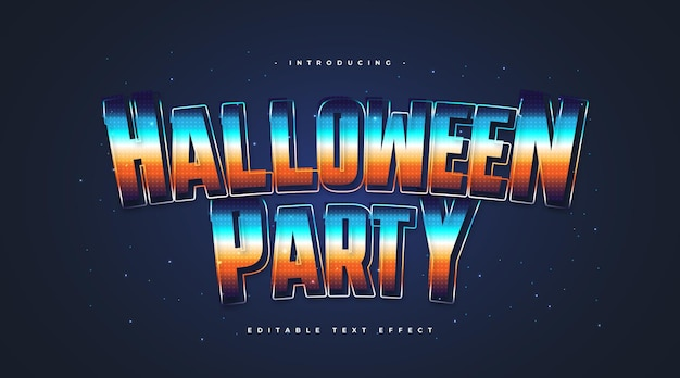 Colorful halloween party text with retro style with sparkling effect