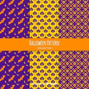 Colorful halloween pattern collection with geometric design