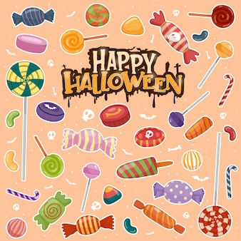 Colorful halloween sweets for children, candies