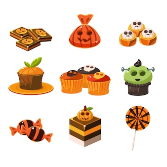 Colorful halloween sweets illustration