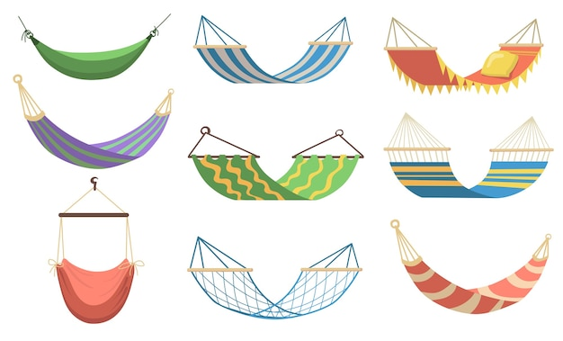 Colorful hammocks of different types flat set for web design. cartoon hammocks for relaxing, swinging, sleeping, resting on beach vector illustration collection. recreation and summer vacation concept