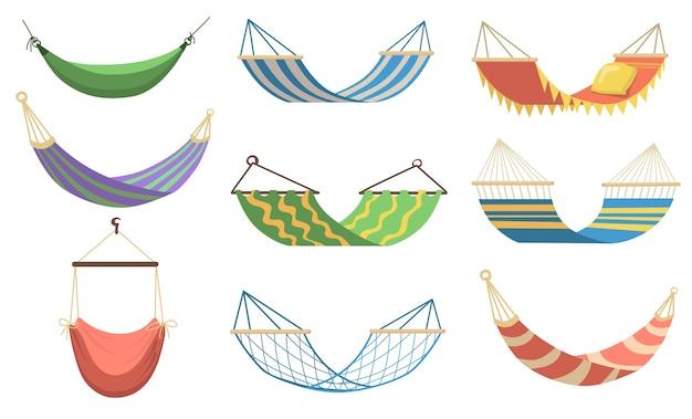 ウェブデザインのためのさまざまなタイプのフラットセットのカラフルなハンモック。リラックス、スイング、睡眠、ビーチで休むための漫画のハンモックベクトルイラストコレクション。レクリエーションと夏休みのコンセプト