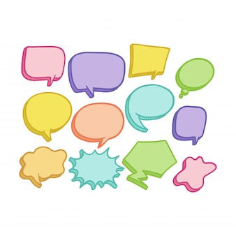 Colorful hand draw balloon speech bubbles set