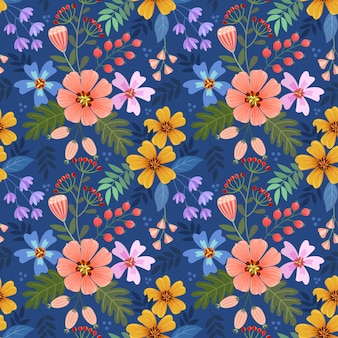Colorful hand draw flowers on blue color seamless pattern for fabric textile wallpaper.