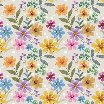 Colorful hand draw flowers on blue color seamless pattern